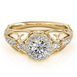 0.93 CTW Certified VS/SI Diamond Solitaire Antique Ring 18K Yellow Gold - REF-167Y3K - 27329