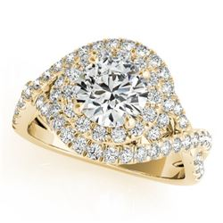 2 CTW Certified VS/SI Diamond Solitaire Halo Ring 18K Yellow Gold - REF-544K5W - 26642