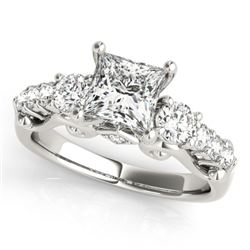1.75 CTW Certified VS/SI Diamond 3 Stone Princess Cut Ring 18K White Gold - REF-447F8N - 27996