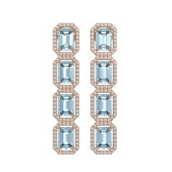 11.54 CTW Aquamarine & Diamond Halo Earrings 10K Rose Gold - REF-193A3X - 41451