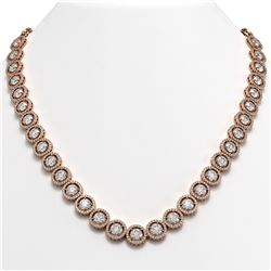 35.32 CTW Diamond Designer Necklace 18K Rose Gold - REF-5509F8N - 42669