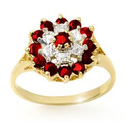 1.12 CTW Ruby & Diamond Ring 10K Yellow Gold - REF-19X6T - 12565