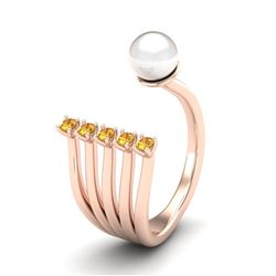0.75 CTW Yellow Sapphire & White Pearl Designer Ring 14K Rose Gold - REF-27K3W - 20864