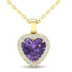 1 CTW Amethyst & Micro VS/SI Diamond Heart Necklace Heart Halo 14K Yellow Gold - REF-28Y4K - 21334