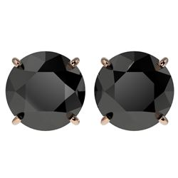 4 CTW Fancy Black VS Diamond Solitaire Stud Earrings 10K Rose Gold - REF-79T9M - 33135
