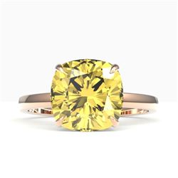 6 CTW Cushion Cut Citrine Designer Inspired Engagement Ring 14K Rose Gold - REF-31X6T - 22177