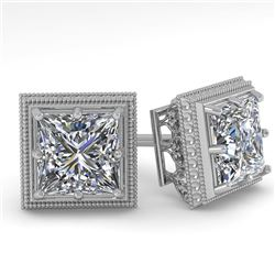 1.0 CTW VS/SI Princess Diamond Stud Solitaire Earrings 18K White Gold - REF-187H5A - 35961