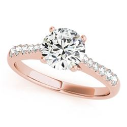 1 CTW Certified VS/SI Diamond Solitaire Wedding Ring 18K Rose Gold - REF-189W3F - 27430