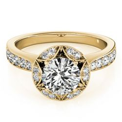 1.5 CTW Certified VS/SI Diamond Solitaire Halo Ring 18K Yellow Gold - REF-404T4M - 26891