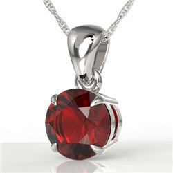 2 CTW Garnet Designer Inspired Solitaire Necklace 18K White Gold - REF-24W5F - 22023