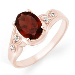 1.26 CTW Garnet & Diamond Ring 18K Rose Gold - REF-31T5M - 12457