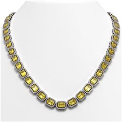 52.94 CTW Fancy Citrine & Diamond Halo Necklace 10K White Gold - REF-679W3F - 41372