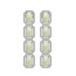 7.93 CTW Opal & Diamond Halo Earrings 10K White Gold - REF-162M2H - 41441