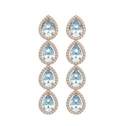 7.81 CTW Sky Topaz & Diamond Halo Earrings 10K Rose Gold - REF-134Y9K - 41169