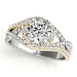 1.5 CTW Certified VS/SI Diamond Solitaire Halo Ring 18K White & Yellow Gold - REF-416A9X - 26614