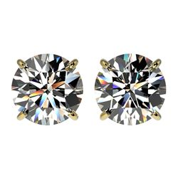 2.57 CTW Certified H-SI/I Quality Diamond Solitaire Stud Earrings 10K Yellow Gold - REF-435W2F - 366