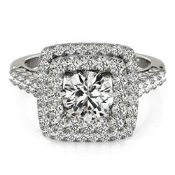 1.8 CTW Certified VS/SI Diamond Solitaire Halo Ring 18K White Gold - REF-273F3N - 27099