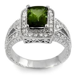 2.55 CTW Green Tourmaline & Diamond Ring 18K White Gold - REF-116K2W - 11334