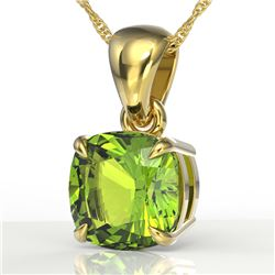 2 CTW Cushion Cut Peridot Designer Solitaire Necklace 18K Yellow Gold - REF-28Y2K - 21954