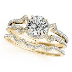 1.01 CTW Certified VS/SI Diamond Solitaire 2Pc Wedding Set 14K Yellow Gold - REF-140W2F - 31999