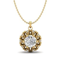 1.2 CTW VS/SI Diamond Art Deco Micro Pave Stud Necklace 18K Yellow Gold - REF-220H2A - 37000