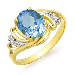 2.53 CTW Blue Topaz & Diamond Ring 10K Yellow Gold - REF-20M2H - 12666