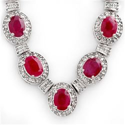 39.70 CTW Ruby & Diamond Necklace 14K White Gold - REF-800F2N - 13900
