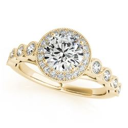 1.05 CTW Certified VS/SI Diamond Solitaire Halo Ring 18K Yellow Gold - REF-138W8F - 26400