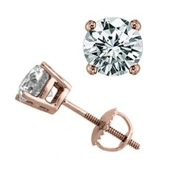 2.0 CTW Certified VS/SI Diamond Solitaire Stud Earrings 18K Rose Gold - REF-514A3X - 13819