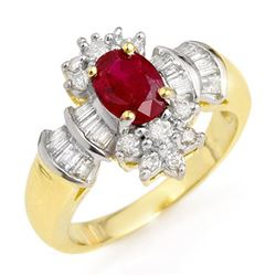 1.78 CTW Ruby & Diamond Ring 14K Yellow Gold - REF-76F5N - 12835