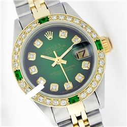 Rolex Men's Two Tone 14K Gold/SS, QuickSet, Diam Dial & Diam/Emerald Bezel - REF-557X2Y