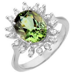 3.40 CTW Green Tourmaline & Diamond Ring 14K White Gold - REF-90N4Y - 10801