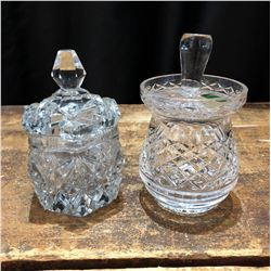Set of 2 Crystal and Cut Glass Preseve Jars
