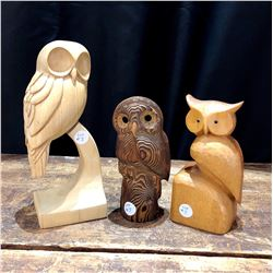 Set of 3 Artist Handmade Mid Century Wood Carved Owls