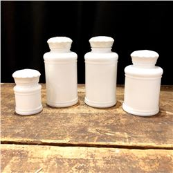 Set of 4 Milk Glass Apothecary Jars with Lids