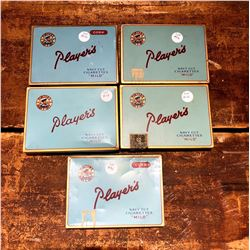Lot of 5 Vintage Players Cigarette Tins