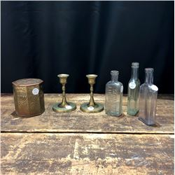 Lot of Vintage Brass Candlesticks, Humidor and Collectible Bottles