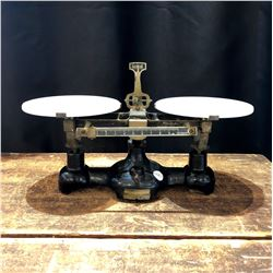 Antique Cast Iron and Milk Glass Pharmacy Scale