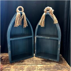 Pair of Decorative Boat Style Shelves