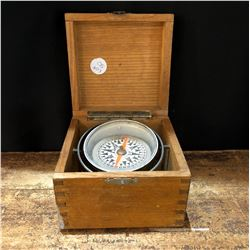 Vintage Japanese Nautical Compass in Dovetail Wood Box
