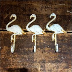 Set of 3 Cast Metal Flamingo Hooks