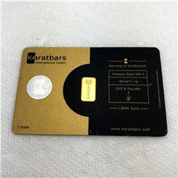 Karat Bars 1g Fine 999.9 Gold Bullion