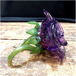 Hand Blown Art Glass Flower