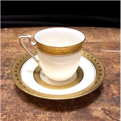 Royal Worcester Gold Trim Espresso Demitasse Cup and Saucer