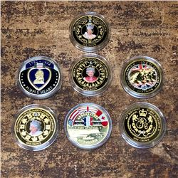 Lot of 7 Gold Plated Collectible Bradford Exchange Coins
