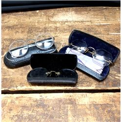 Lot of 3 Antique Spectacles in Cases