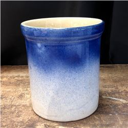 Rare Medalta Pottery Blue Cobalt Glaze over Mocha Small Crock