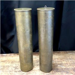Lot of 2 Vintage Large Gun Shell Casings