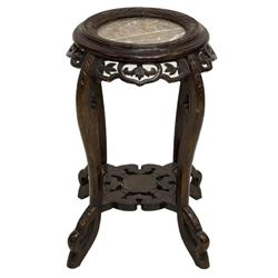 Asian Marble Top Foliate & Figural Side Table