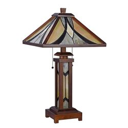 """""""GORDON"""" Tiffany-style Mission 3 Light Double Lit Wooden Table Lamp 15"""" Shade"""